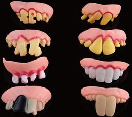 Wholesale Horror Decorations - Funny Goofy Fake Rotten tooth Teeth Halloween Party decoration Favor Creepy Dentures Horror toys
