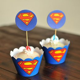 Wholesale Wholesale Baby Blue Cupcake Cups - Free Shipping 24pcs Blue Superman cupcake wrapper topper birthday party favors 4 kids, cup cake toppers picks baby shower supplies