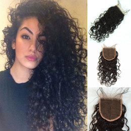 """Wholesale Cheap Brazillian Wavy Hair - Wet and Wavy Brazilian Lace Closure Cheap Virgin Brazillian Water Wave Closure 4x4"""" Natural Wave Hidden Knot Middle Or Free Part"""