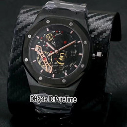 Wholesale Shape Bands - High Quality New Royal All Black Steel Rose Gold Tourbillon Black Skeleton Dial ETA 2892 Automatic Mens Watch Gents Watches Steel Band A403P