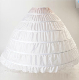 Wholesale Plain Gowns - White Hollow Petticoat Plus Size 2018 New 6 Hoops Wedding Petticoats Ruffles Crinoline for Girls Underskirt