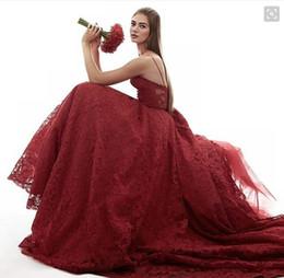 robes de pageant personnalisés pour les femmes Promotion Formelle Bourgogne Dentelle Robes De Soirée Puffy Tulle Couches Femmes Pageant Party Robes 2016 Personnalisé fait Spaghetti Bretelles Robes De Bal