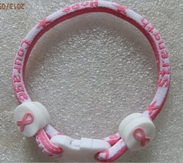 Wholesale pink ribbon wholesale - For Christmas cancer 2015 pink ribbon breast ribbon bracelet cancer awareness bracelet Breast cancer awareness bracelet Titanium bracelet