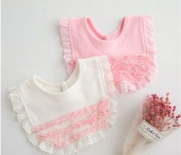 Wholesale White Infant Bibs - Baby bibs burp newborn lace embroidery falbala saliva towel infant tiered ruffle bandana baby girls cotton capes white pink R1641
