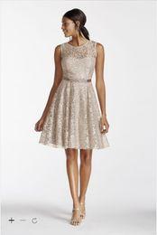 Wholesale Gold Shimmer Dress - Vintage 2016 Designer Occasion Bobbin A-Line Short Illusion Tank Shimmer Lace Dress with Beaded Sash v-back Style A15607 Bridesmaid Dresses