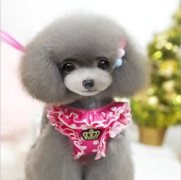 Wholesale Draw Teddy - 2016 pet leash Apparel!High-grade crown pet cord,dogs ( chest straps+ drawing rope)set,Teddy  poodle dog Supplies clothing.4sets.F