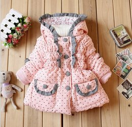 Wholesale Hood Lace - 2015 Autumn Winter Baby Girls Hooded Lace Jacket Coat Children Clothing Kids Buttons Pocket Kid Jacket Solid Outwear Clothes Pink K4695