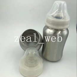 Wholesale Bpa Free Bottles Baby - 5oz 9oz Stainless Steel Baby Bottle single walled Silver color Infant Bottle With Silicone Nipple BPA FREE