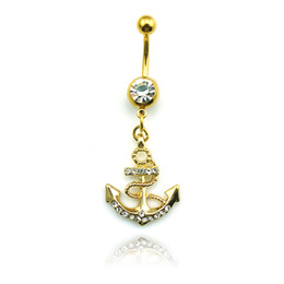 Wholesale Body Jewelry Anchors - New Arrival Fashion Belly Button Rings Dangle Stainless Steel Gold Plated Rhinestones Anchor Navel Body Piercing Jewelry