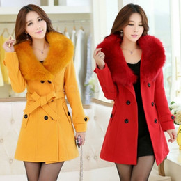 Шерстяные куртки для дам онлайн-Wholesale-womens fur collar Double Breasted Wool Coat long Winter Jackets parka coats Outerwear for lady M,L,XL,XXL,XXXL 35