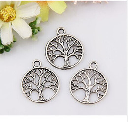 Wholesale Wholesale Tibetan Silver Jewelry - MIC Free Shipping 150PCS Tibetan Silver TREE DANGLE Tree of Life Circle Charms Pendant Jewelry DIY 20x24mm