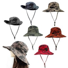 Wholesale Wholesale Uv Visors - Wholesale-Outfly Wilderness Fishing Hats Hiking Photography Cap Sun UV Protection Visor Hat Camouflage 5 Color