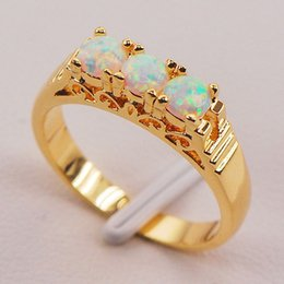 Wholesale Fire Opal Ring Gold - White Fire Opal Australia 925 Sterling Silver Gold Filled Jewelry Ring Size 6 7 8 9 10 11 F572