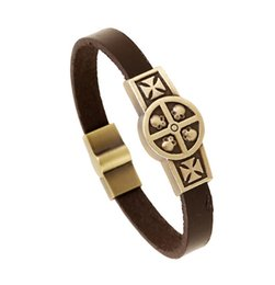 Wholesale 18k Gold Bangles Valentine - 2016 New Coming Men Women Genuine Leather Thin Bracelets Skull Cross Charms Bangles Bronze Buckles Couples Lover Jewelry Valentine Gift K815