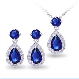 Adorável conjunto de jóias para as mulheres com 1 par de gota de água azul escuro brincos 1 colar de pingente de cadeia de geléia de