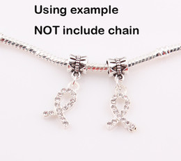 Wholesale Awareness Ribbon Charm Crystals - Crystal Rhinestone Ribbon Breast Cancer AWARENESS Dangle Beads Pendant Charms Jewelry Findings BE339