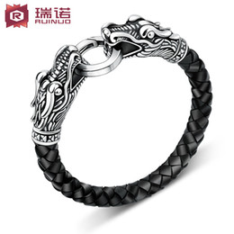 Wholesale Sterling Silver Italian - Most of the Italian men's titanium bracelet Korean fashion leather cord Metrosexual retro jewelry accessories can be lettering