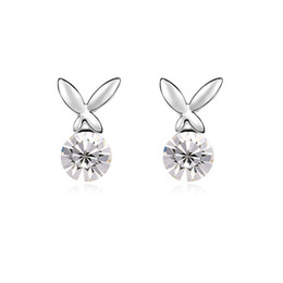 Wholesale Swarovski 18k Gold Earrings Studs - 5 Colours Made with Swarovski Elements 18K Gold Plated crystal Stud earrings for women New Sale Hot #100533