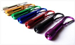 Wholesale Wholesale Flashlights Free Shipping - 2016 Portable Mini LED Flashlight Keychain Aluminum Alloy Torch with Carabiner Ring Keyrings mini LED Flashlight Mini-light free shipping