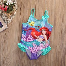 Wholesale Cute Toddler Girls Swimwear - Wholesale- Toddler Kids Baby Girls Swimsuit Summer Sleeveless Lace Ruffles Little Mermaid Cute Bathing Bikini Suit Swimwear Beachwear