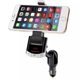 Wholesale Holder Remote Control Car - New Handfree Bluetooth FM Transmitter Car Kit phone Holder with USB charger MP3 Player with LED Screen Remote control