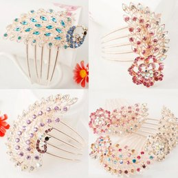 Wholesale Chinese Style Hair Clips - Chinese style Women's Elegant Phoenix Pattern Rhinestone Peacock Hair Comb Hair Pin ladies Hair Clip Bride Hairpin 26 Style