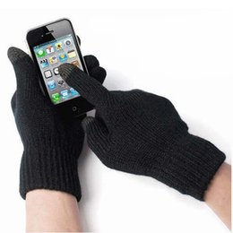 Wholesale Ipad Gloves Women - Wholesale-Women Mens Touch Screen Soft Knitting Winter Gloves Warmer for iPad iPhone 6 Plus 2015 Hot