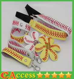 Wholesale wholesale keychain bows - 25pcs baseball softball headband+25pcsbaseball softball hair bow+25pcs baseball softball keychain+25pcs baseball softball bracelet