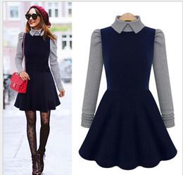 Wholesale Plus Size Women Puff Sleeve - Winter Autumn Knitting Dress slim hip long-sleeve casual dress solid S-XL women plus size S02
