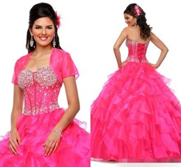 Wholesale Cheap Fuschia Beads - Vestidos Quinceanera Dresses With Jackets Organza Fuschia Pageant Prom Dress 2015 Sexy Crystals Beaded Ball Gowns Cheap Long Backless Tiered