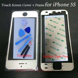 iphone bezel sticker Promotion En gros-LCD Écran Tactile Panneau de Couverture Avant En Verre Lentille avec Cadre Lunette 3 M Adhésif Autocollant Bande Tournevis Outil Kits pour iPhone 5S
