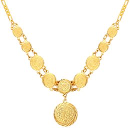 Wholesale Coined 18k Gold Plated Jewelry - New Beautiful Round Old Coin Pendant Necklace 18K Real Gold Plated Necklace Jewelry For Women MGC N882K