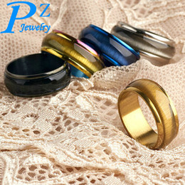 Wholesale asian women wedding gemstone rings - HOT Factory Price Europe and America Fashion Stainless Steel Jewelry Gemstone Rings For Women and Men 5 Colors Opals Couple Rings