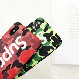 Wholesale Iphone Camo - For iPhoneX 8 8plus Luxury brand Camo English alphabet silicone phone shell case for iPhone7 6 6S 7plus