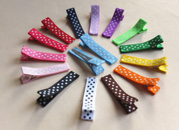 Wholesale Ribbon Covered Alligator Clips - Polka DOT Hair Clip RIBBON COVERED Single Prong Alligator Clip Baby Girl Hair clip 100pcs LOT QueenBaby Trail Order FJ3225
