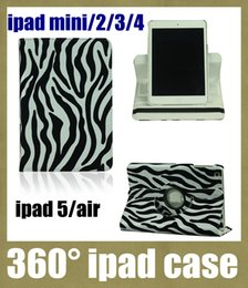 Wholesale Zebra Skin Wholesale - hot sale ipad cases stand 360 rotating tablet case protective shell skin for ipad mini ipad 2 3 4 5 air tablet zebra-stripe print PCC020