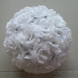 white rose flower balls Canada - Elegant White Artificial Rose Silk Flower Ball Hanging Kissing Balls 15 cm to 40CM Ball For Wedding Party Decoration Supplies