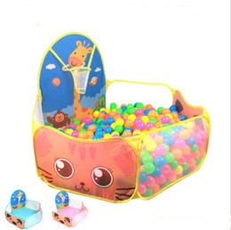 Wholesale tent pool ball pit - Kids Play Tent Foldable Ocean Ball Pit Pool Indoor Outdoor Play House for Children Play Set Toy Pink Blue Yellow 3 Colors