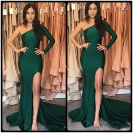 Wholesale Emerald Green One Shoulder Dress - Hot Emerald Green Sexy Split Evening Dresses 2017 Mermaid Stretch Satin Long Sleeves One Shoulder abendkleider Evening Party Celebrity Gown