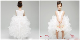 Wholesale Charming Organza Wedding Dresses - 2015 new Charming Design Flower Girls Dresses With Organza Ruffles V Neck Hi Lo Back Zipper Lace Bodice High Quality Formal Kids Dress