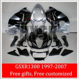 Wholesale 98 Gsxr Fairings - GSXR1300 Hayabusa Fairing Kits For Suzuki 97 98 99 00 01 02 03 04 05 06 07 GSX-R1300 OEM Custom Fairings GSXR 1300 Black Silver