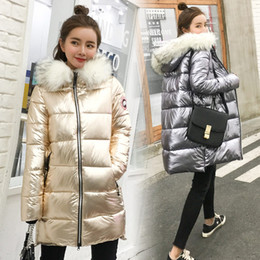 Wholesale Winter Park - Fashionable metallic gold, silver colored bright jacket with hooded coat For women winter warm cotton soft long parks New bomber street park