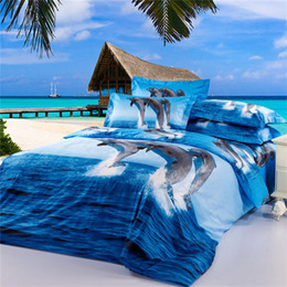 Wholesale Dolphins Bedding - Dolphin 3D Bedding Oil Painting 4pcs Printed Duvet Cover Bedding Sets Three Dimensional Pattern Home Textiles