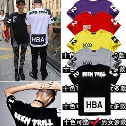 Wholesale X Men Women Costume - Factory Price Hood By Air X Been Trill man Women's T-Shirt Letter color printing Street hip hop Costume HBA tee shirt