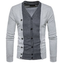 Wholesale Knit Sweaters For Winter Mens - 2017 Winter Sweater Men V-Neck Casual Knitting Jumpers Sweaters Mens Long Pullovers Famous Brand Fake two-piece Suit Sweater for Gentleman