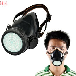 Wholesale Dust Spray - Hot Spray Respirator Gas Safety Anti-Dust Chemical Paint Spray Mask Dual Cartridge Mask Adjustable Dusts Mists Metallic Fumes Mask TK0856