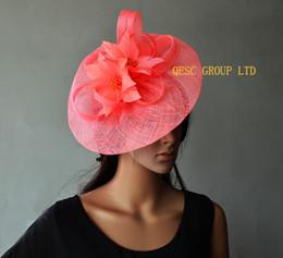 Wholesale Tiaras Coral - Coral pink Big Sinamay fascinator Ladies hat.