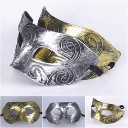 Wholesale Gray Masquerade Masks - 2016 Men's retro Greco-Roman Gladiator Masquerade Masks Vintage Golden Silver Mask Silver Carnival Mask Halloween Costume Party Mask B02