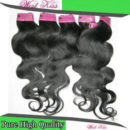 Самые дешевые человеческие волосы бразильские онлайн-Обещаю, дешевый бразильский Weave волос обрабатываемых расширений Реми 100% человеческих волос 6 шт/много тело волна реальной заводской цене