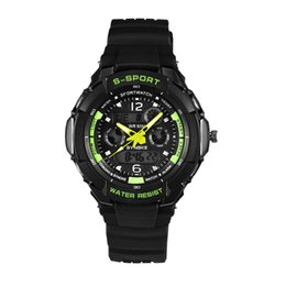 Wholesale Water Week - New Men Sports Watches Dual Movement Wrist Watch Digital LED Alarm Week Date Features Display Watches